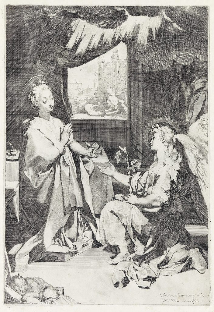 Federico Barocci, The Annunciation, etching and engraving, circa 1585. Sold November 1, 2018, for $2,500.