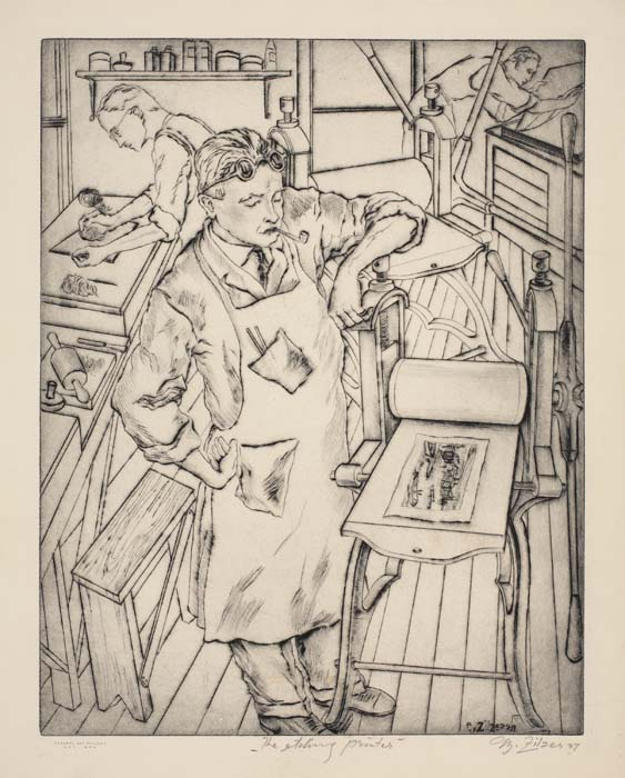 Gyula Zilzer, The Etching Printer, etching with drypoint, 1937.