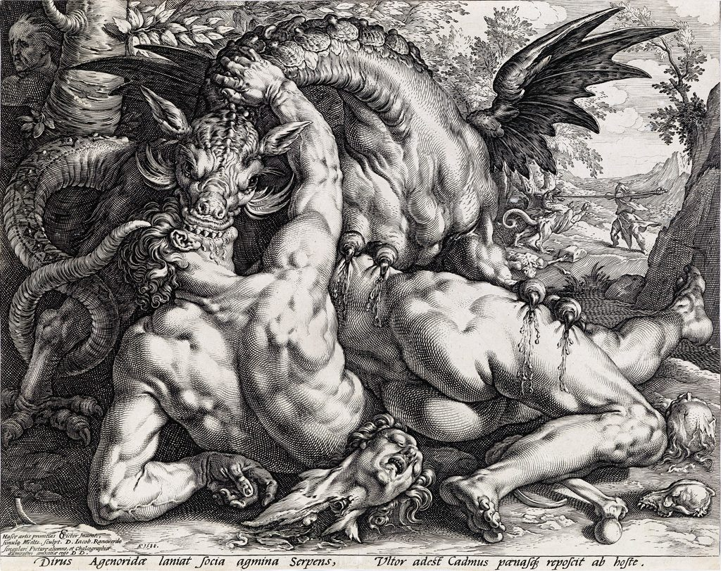 Hendrick Goltzius, The Dragon Devouring the Companions of Cadmus, engraving, 1588. Sold November 2, 2017, in Old Master Through Modern Prints for $10,625.