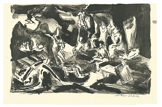 Jackson Pollock, Farm Workers, lithograph, circa 1934-35
