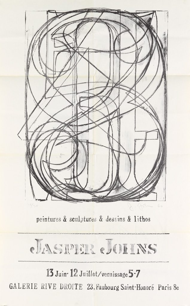 Jasper Johns, gallery mailer from a group of seven various mailers, circa 1960s.