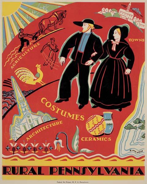 Katherine Milhous, Rural Pennsylvania, circa 1939. WPA Poster