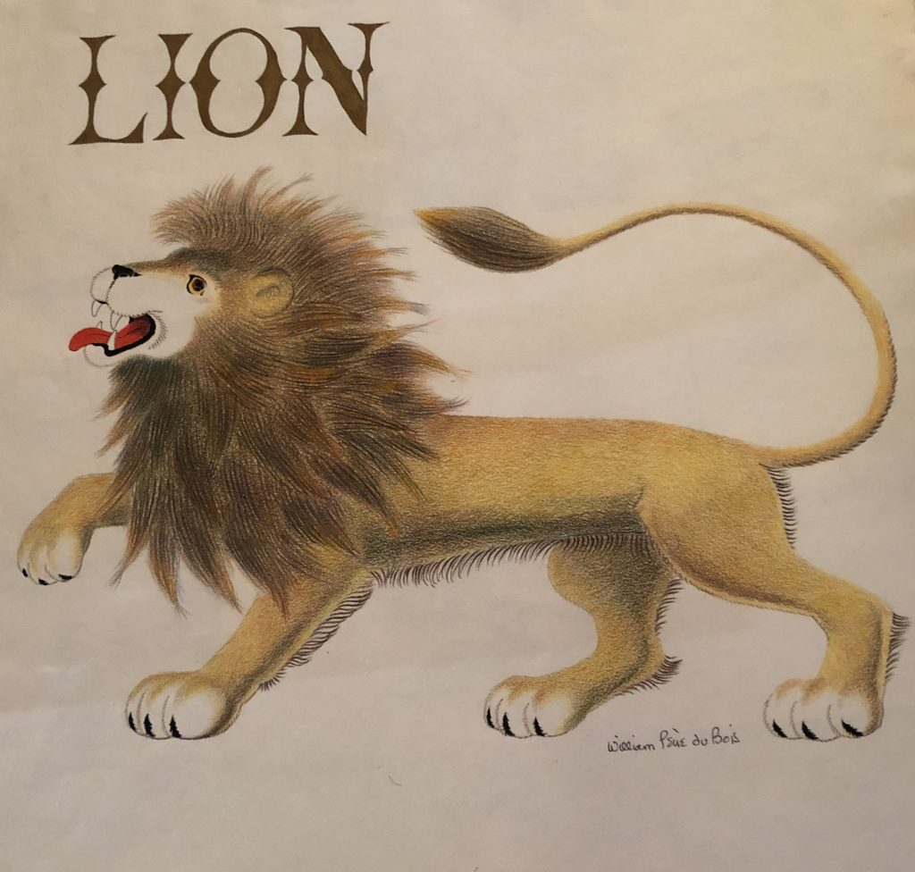 William Pène du Bois, illustration for Lion, mixed media, including pen, ink, colored pencil and graphite on paper, 1956.