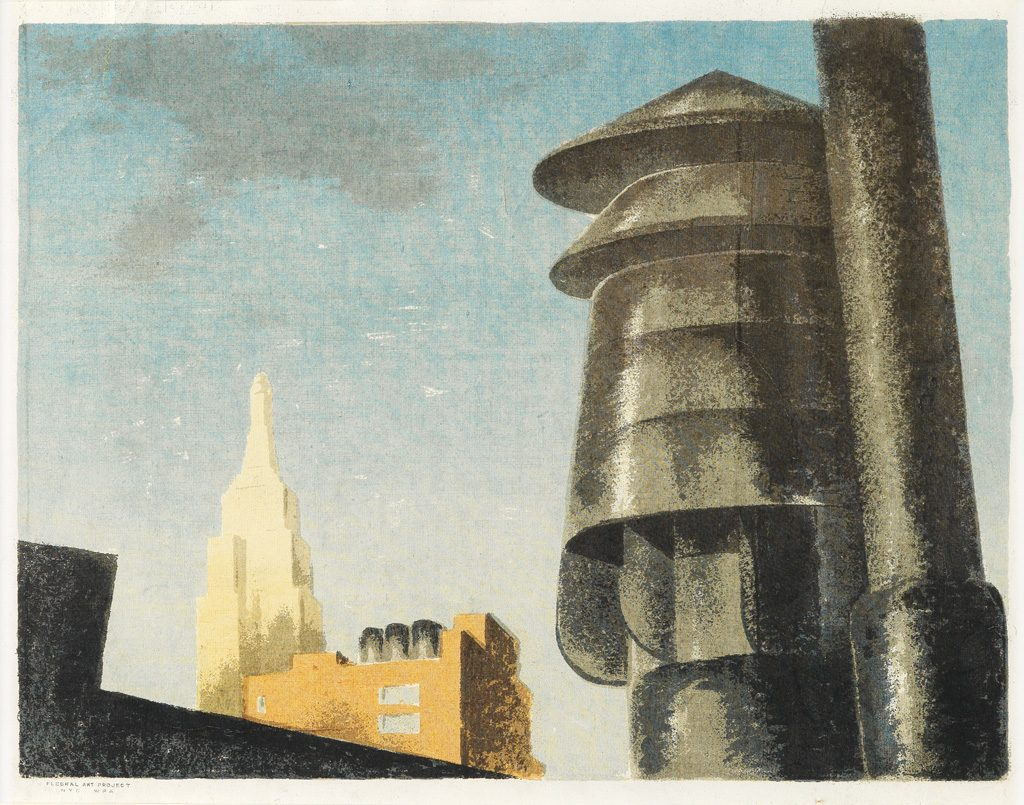 Louis Lozowick, Roofs and Sky, color screenprint, circa 1939.