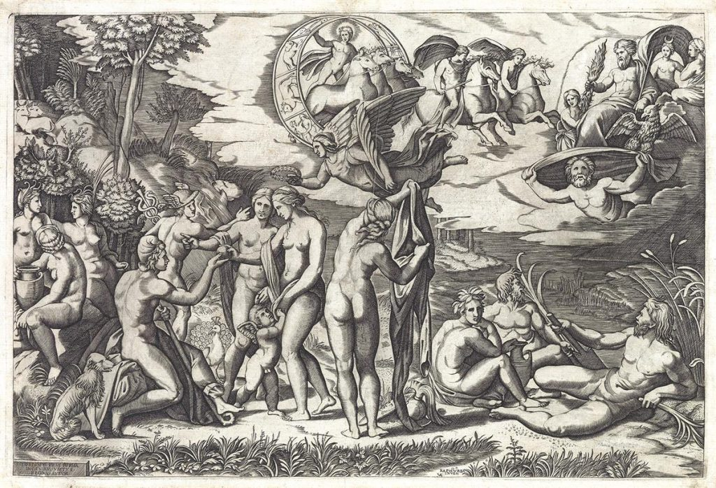 Marcantonio Raimondi (after Raphael), The Judgment of Paris, engraving, circa 1510-20.