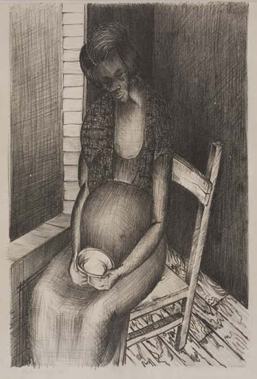 Norman Lewis, Untitled (Seated Pregnant Woman with Cup), lithograph, circa 1938.