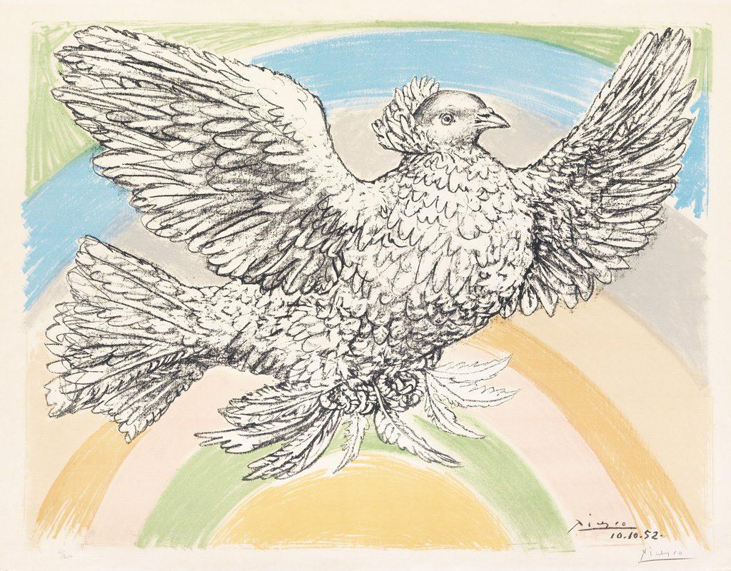 Pablo Picasso, Le Columbe Volant (á l'Arc-en-Ciel), color lithograph, 1952. Sold March 2015 for $10,000.