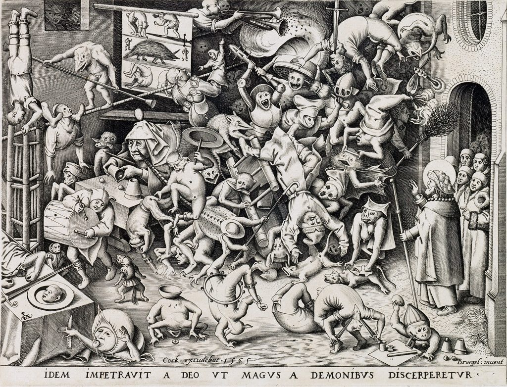 Pieter Bruegel, The Fall of the Magician Hermogenes, engraving, 1565. Sold November 2, 2017, in Old Master Through Modern Prints for $18,750.