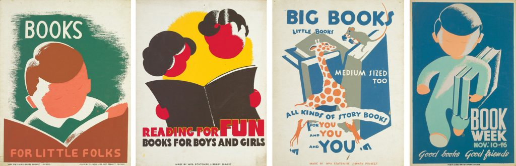 Designer unknown, group of four books and reading WPA posters, circa 1940.