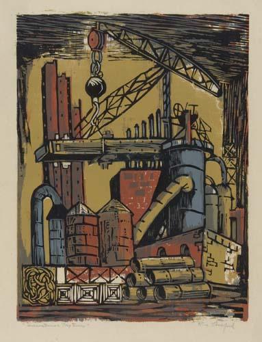 Riva Helfond, Industrial Textures, color linoleum cut, circa 1940.
