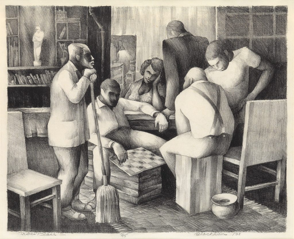 Robert Blackburn, Mike's Place, lithograph, 1938.