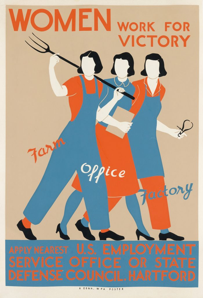 Designer unknown, Women Work for Victory / WPA, 1940. WPA Poster