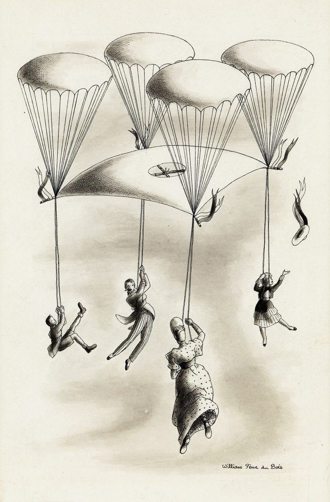 William Pène du Bois, illustration from The Twenty-One Balloons, pen, ink and wash, 1947.