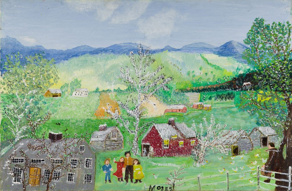 "Anna Mary Robertson ""Grandma"" Moses, Happy Days, oil on masonite, 1961. Sold for $81,250 in the September 17, 2020 auction of American Art."